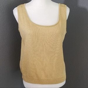 St John Basics Gold Knit Shell Tank Top L Sweater